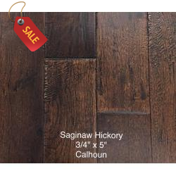 "Saginaw - 3/4"" x 4 3/4"" Solid Hand-Scraped Hickory Flooring Series - Solid Hardwood - Hickory Hand-Scrape"